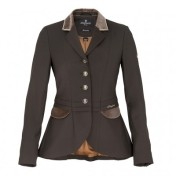 Key features include the ultra flattering skirted waist and brown velvet details. Available in brown and navy. Price: 399 Pounds from www.classicdressage.com.